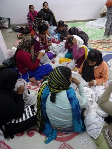 Women working together on chikan
