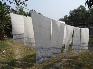 jamdani scarves drying in the breeze