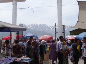 Urgut market with Shakrisabz mountains in the distance